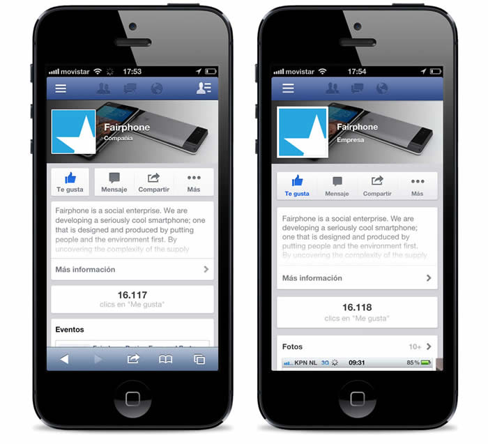 Captura del sitio web y app de Facebook