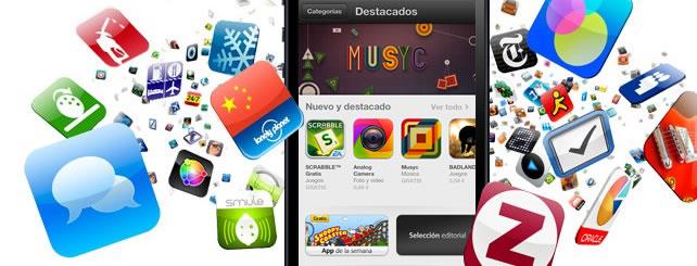 Muchos iconos de lanzamiento de apps flotando en el aire