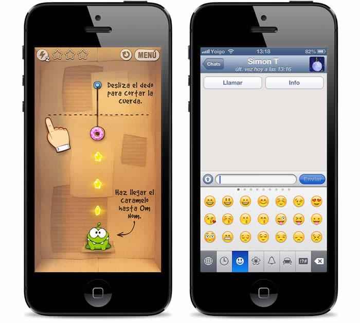 Apps de Cute the Rope y Whatsapp