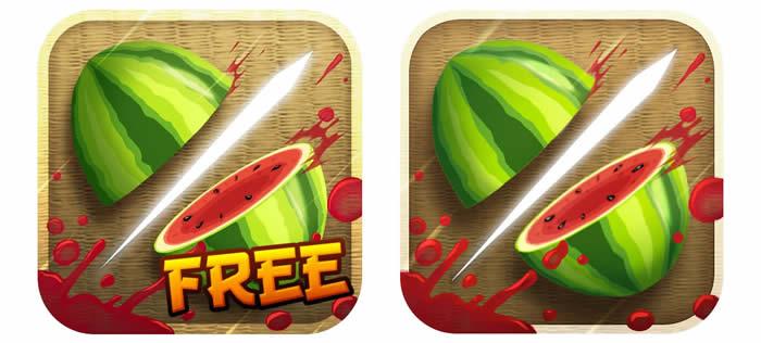 Iconos de Fruit Ninja en sus dos versiones