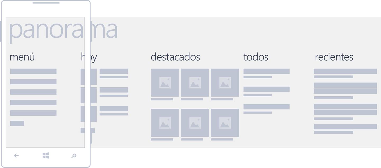 Esquema de navegación tipo Panorama en Windows Phone