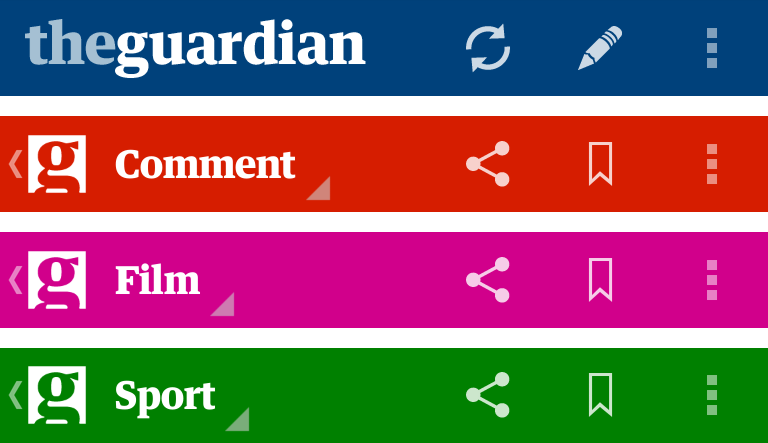Colores en encabezados en la app The Guardian