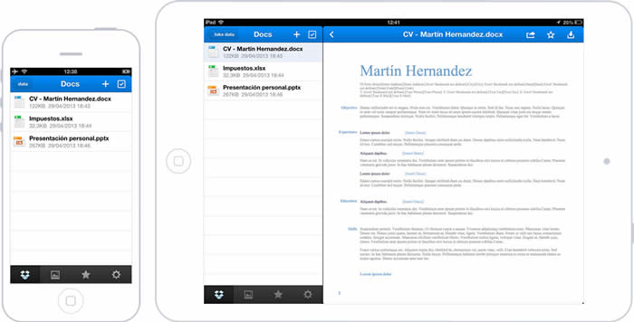 App de Dropbox en iPhone y iPad